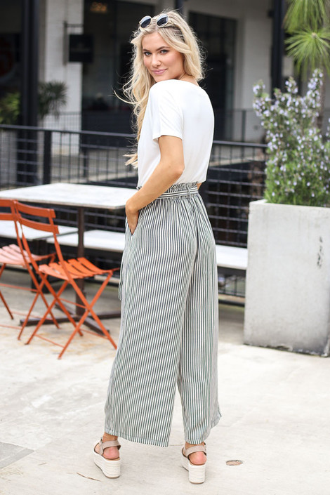 Model wearing the Tie Front Wide Leg Pants Side View