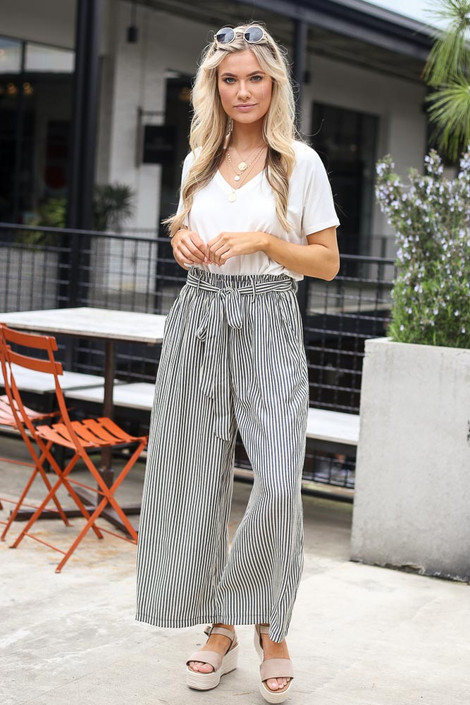 Charcoal - Tie Front Wide Leg Pants