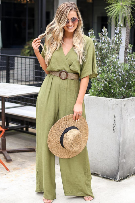 Olive - Dress Up model wearing the Belted Jumpsuit