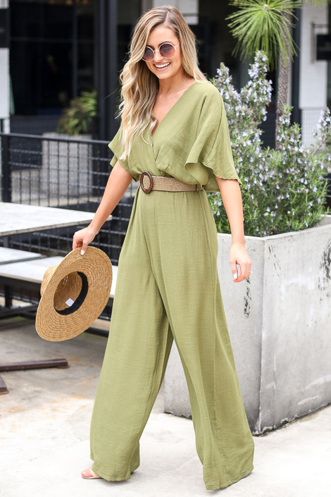 Belted Jumpsuit in Olive Side View