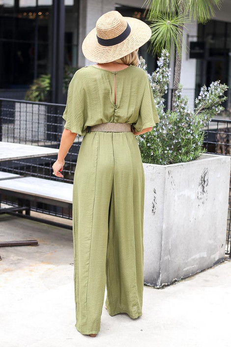 Belted Jumpsuit in Olive Back View