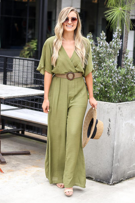 Belted Jumpsuit in Olive Front View