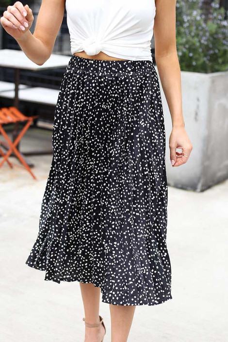 Black - Spotted Pleated Midi Skirt from Dress Up
