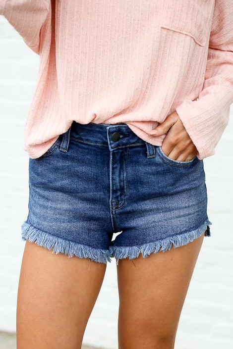 Medium Wash - High-Rise Frayed Denim Shorts