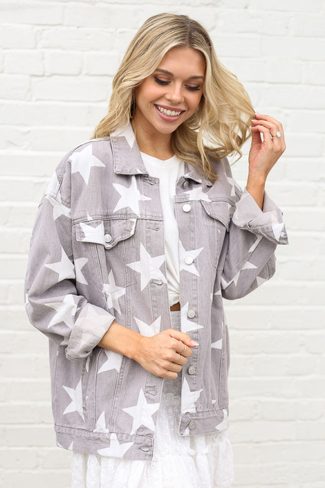 Model wearing the Star Print Oversized Denim Jacket