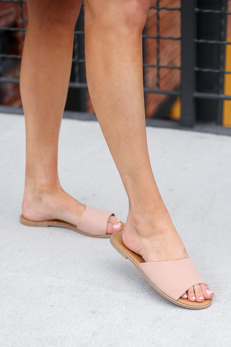 Blush - Asymmetrical Slip On Sandals