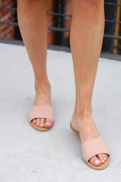 Close Up of the Asymmetrical Slip On Sandals