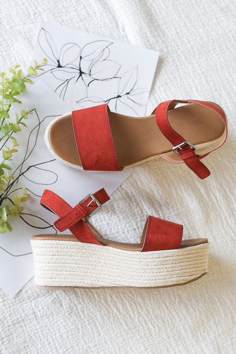 Rust - Flat Lay of the Ankle Strap Platform Espadrilles