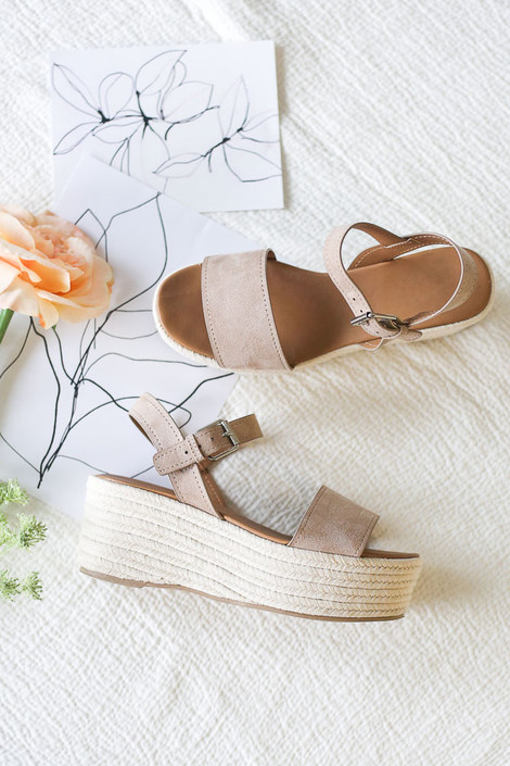 Taupe - Flat Lay Close Up of the Ankle Strap Platform Espadrilles
