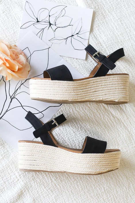 Flat Lay of the Ankle Strap Platform Espadrilles in Black