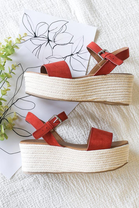 Flat Lay of the Ankle Strap Platform Espadrilles in Rust