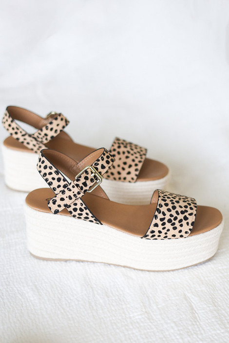 Flat Lay of the Ankle Strap Platform Espadrilles in Leopard