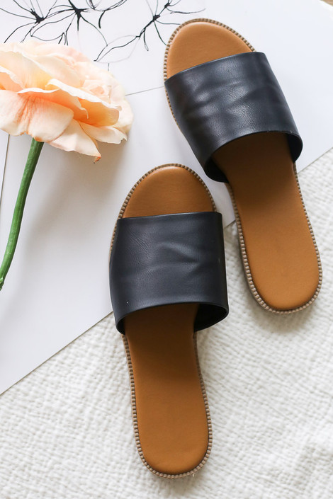 Black - Faux Leather Slip On Sandals