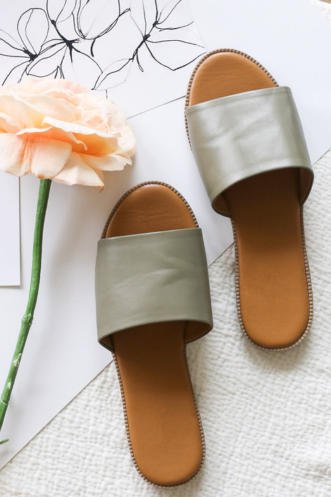 Khaki - Flat Lay of the Faux Leather Slip On Sandals