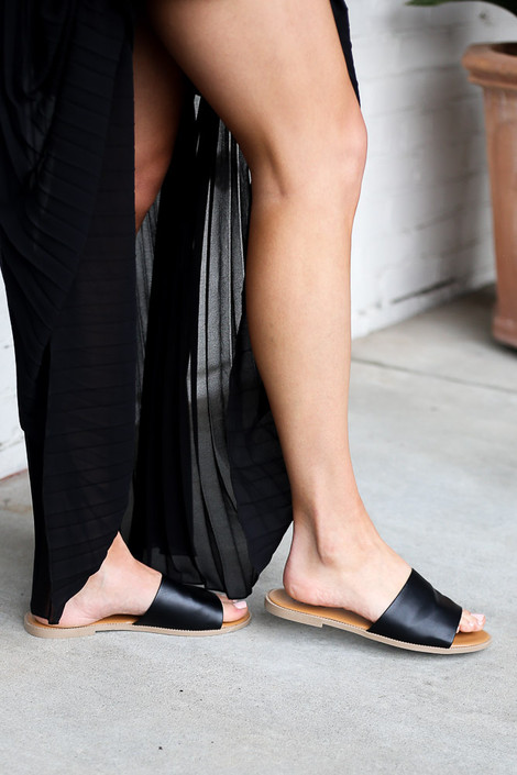 Black - Faux Leather Slip On Sandals from Dress Up