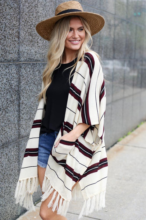 Taupe - striped boho kimono side view