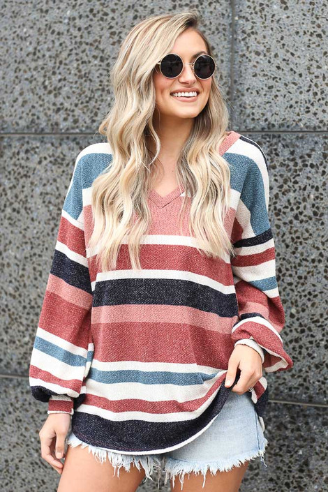 Multi - Striped Soft Knit Top
