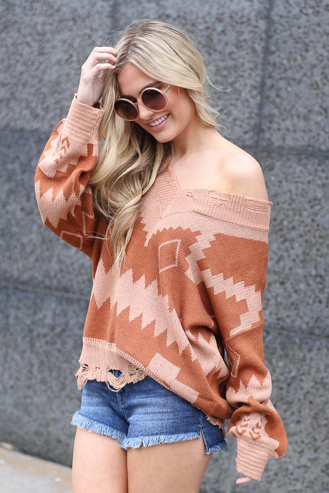 Blush - off the shoulder aztec sweater