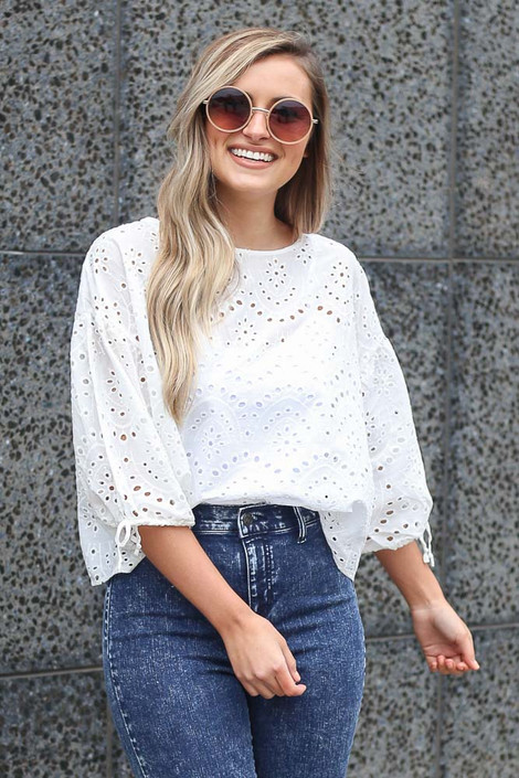 White - Tucked In Eyelet Lace Blouse