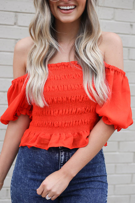 Red - cute off the shoulder crop top