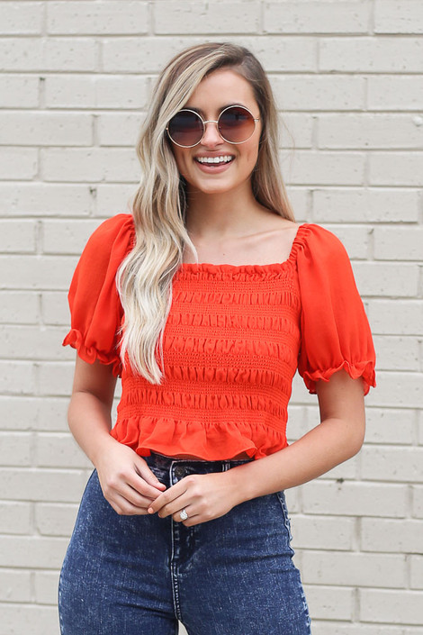 Red - cute smocked crop top