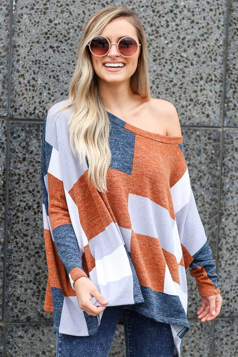 Navy - color block oversized top
