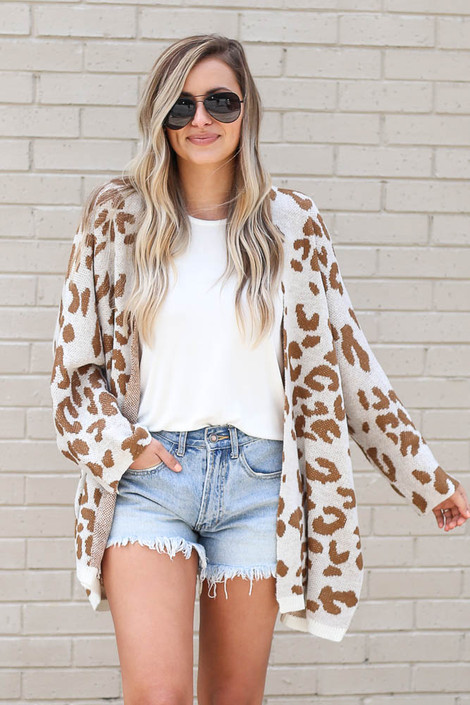 Ivory - Dress Up Ivory Leopard Cardigan