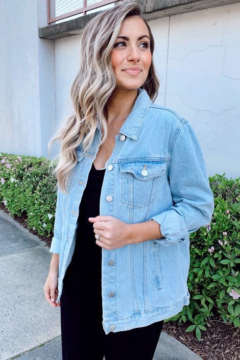 Medium Wash - Dress Up model wearing a denim jacket