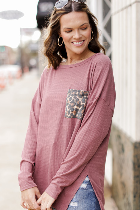 Mauve - Oversized Front Pocket Top Front View