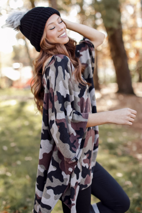 Camo - Oversized Brushed Knit Poncho from Dress Up