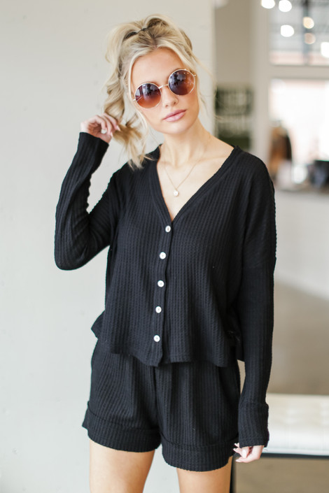 Black - Waffle Knit Button Front Top