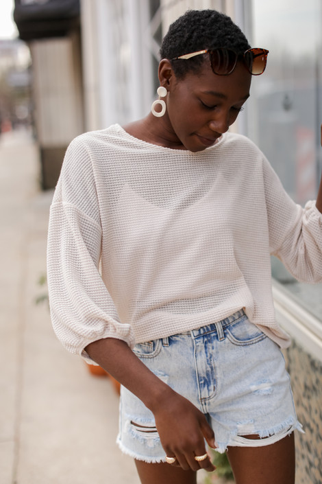 Natural - Waffle Knit Top from Dress Up