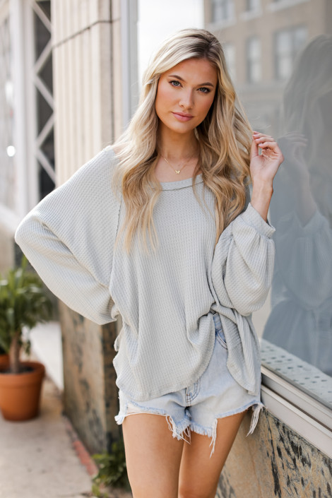 Sage - Oversized Waffle Knit Top from Dress Up