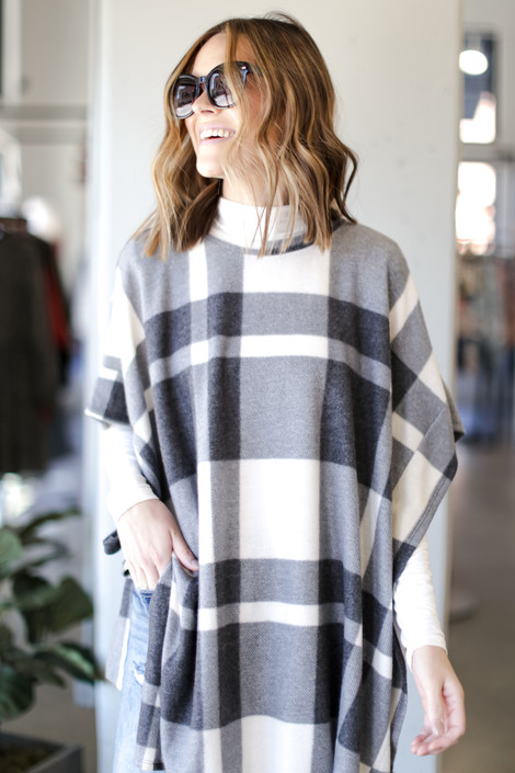 Charcoal - Oversized Plaid Poncho in Charcoal Front View