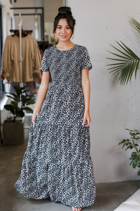 Black - Smocked Floral Maxi Dress from Dress Up
