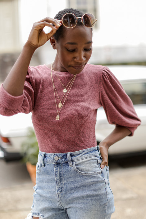 Mauve - Puff Sleeve Top from Dress Up