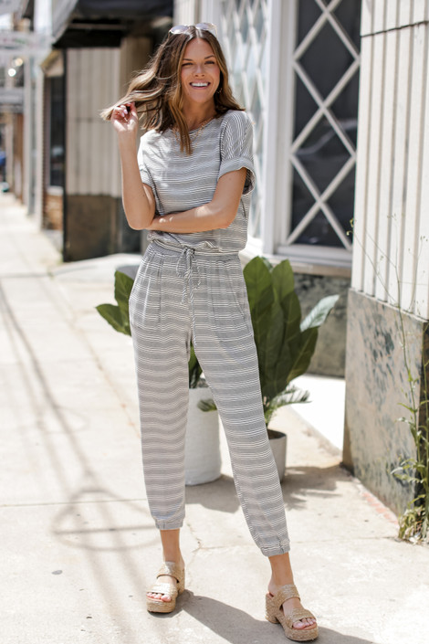 Ivory - Striped Jumpsuit from Dress Up