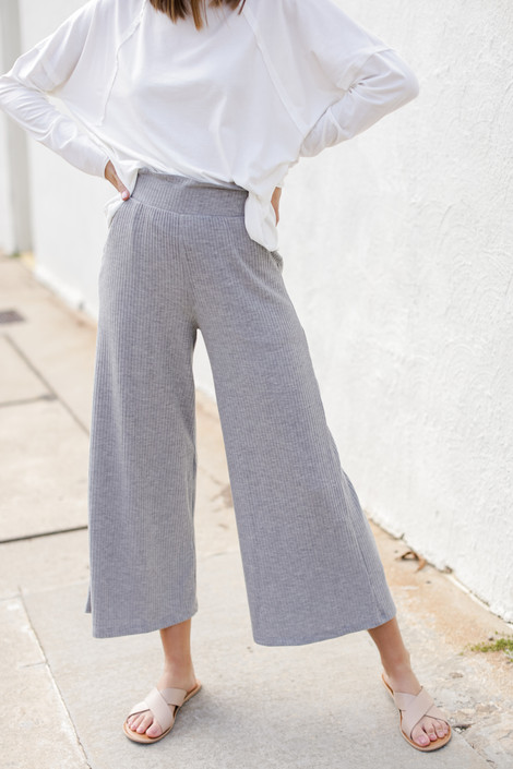 Heather Grey - Ribbed Wide Leg Pants from Dress Up