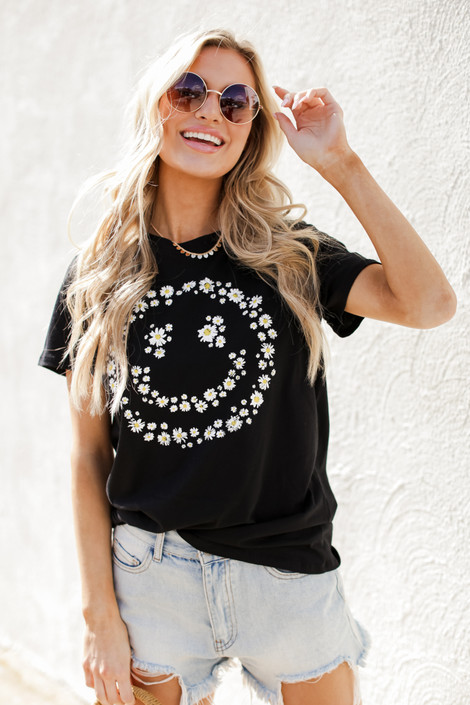 Black - Flower Child Graphic Tee from Dress Up