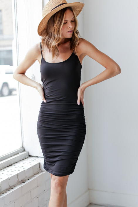 Black - Bodycon Ruched Dress