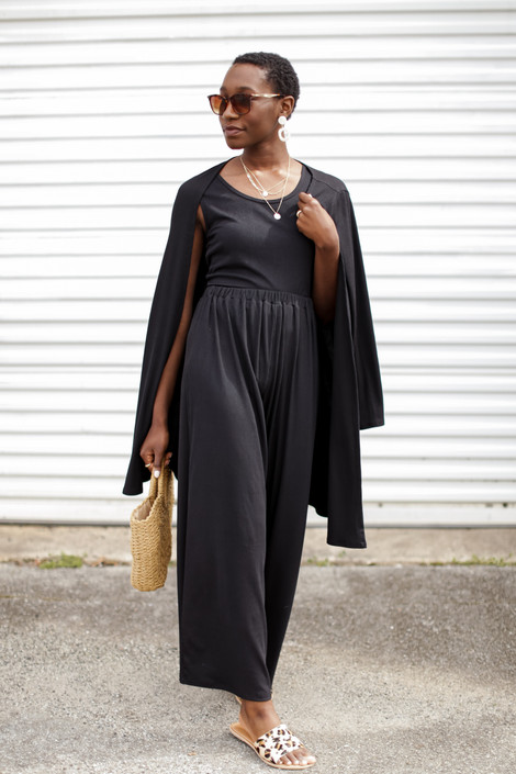 Black - Ribbed Wide Leg Pants from Dress Up