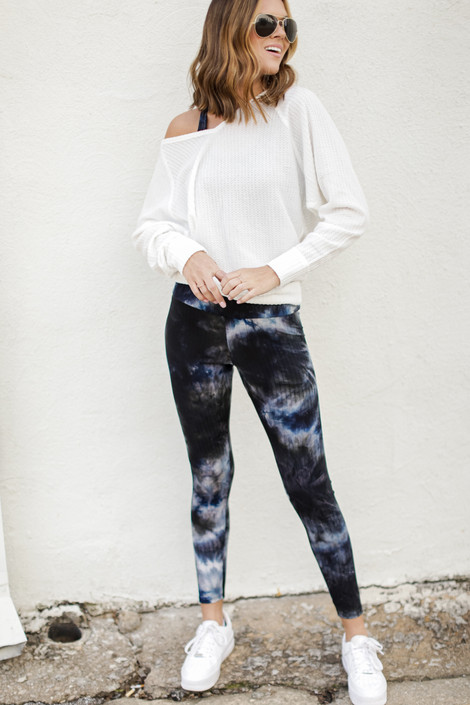 Navy - High-Waisted Ribbed Leggings from Dress Up