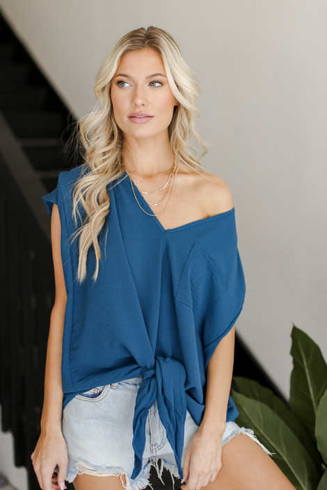 Teal - Tie-Front Blouse