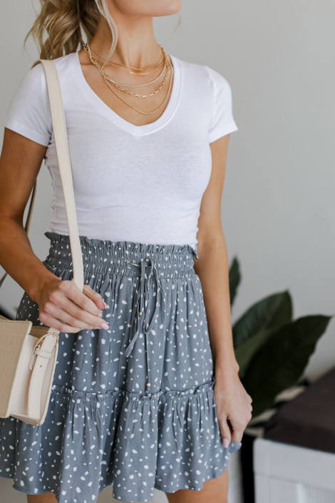 Sage - Spotted Tiered Skirt