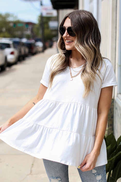 White - Tiered Babydoll Tee from Dress Up