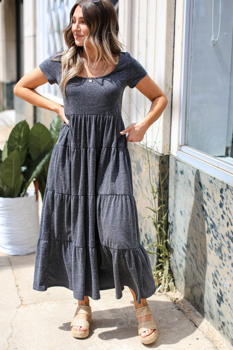 Charcoal - T-Shirt Tiered Maxi Dress from Dress Up