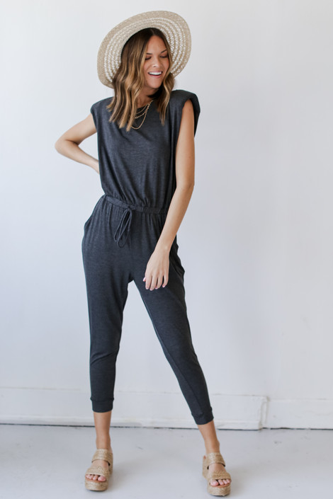 Charcoal - Shoulder Pad Jumpsuit from Dress Up