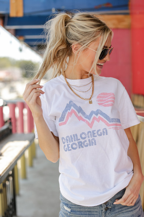 White - Dahlonega Mountains Graphic Tee from Dress Up