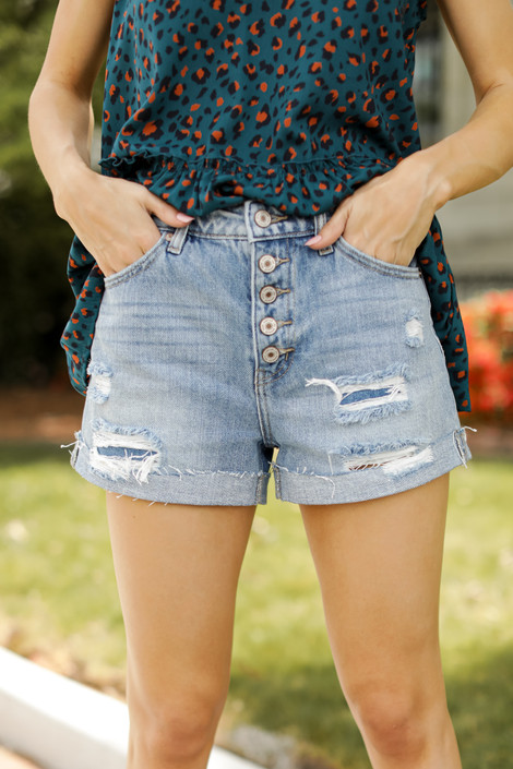 Light Wash - High Waist Distressed Shorts from Dress Up