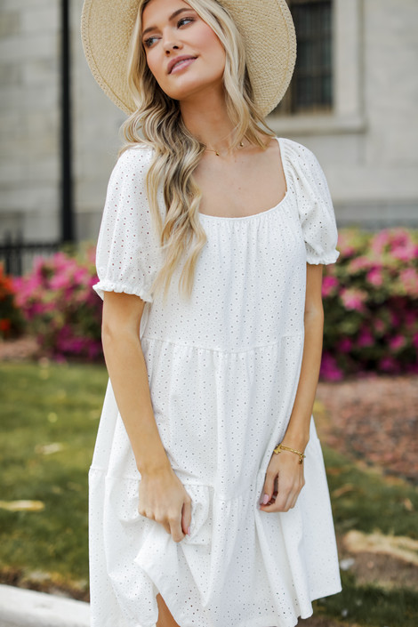 White - Dress Up model wearing an Eyelet Tiered Dress